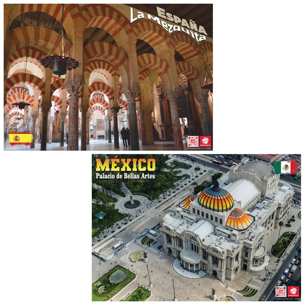 México and España Enhanced® Poster Set of 2