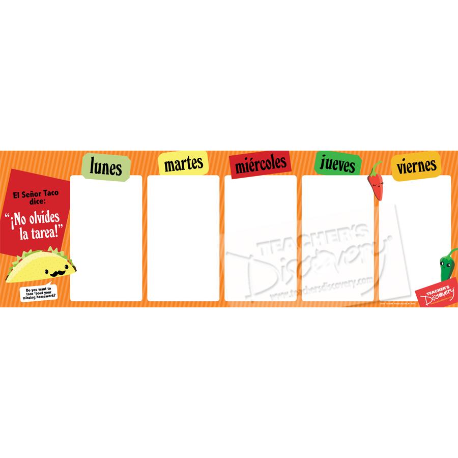 Week Spanish Homework Chart