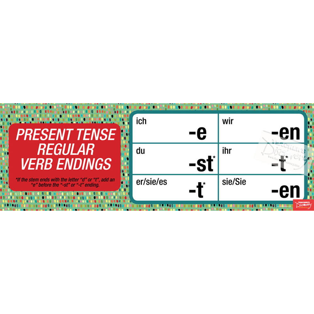 Regular German Verb Endings Poster