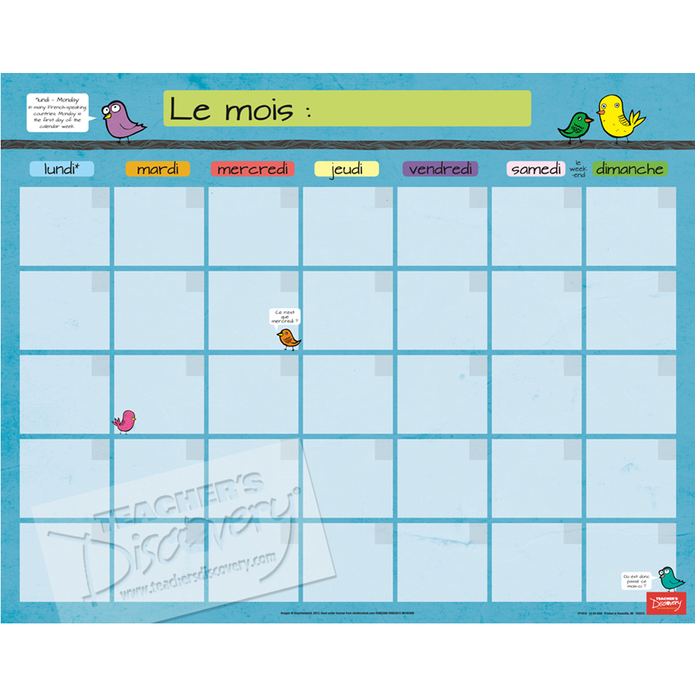 Month French Homework Chart