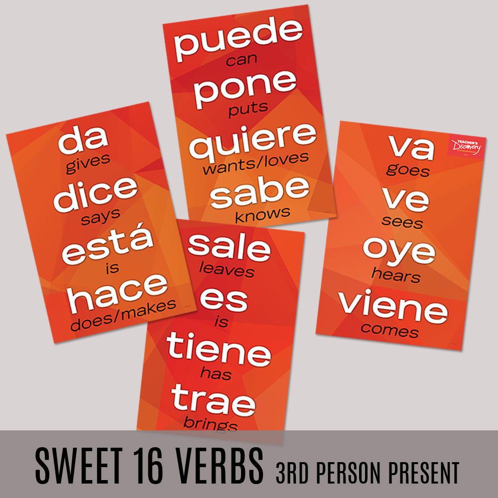 Sweet 16 Third Person Present Spanish Posters—Set of 4