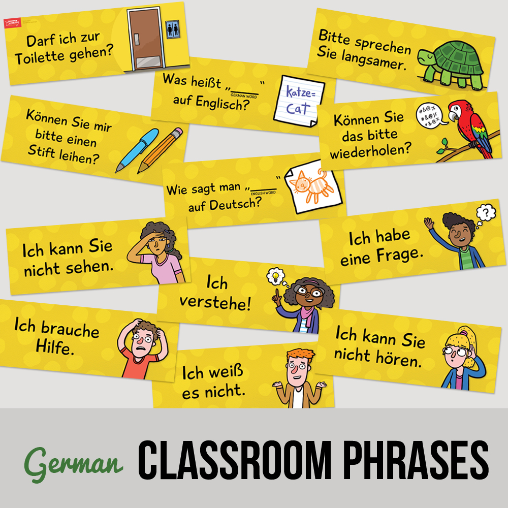 Classroom Phrases German Signs - Set of 12