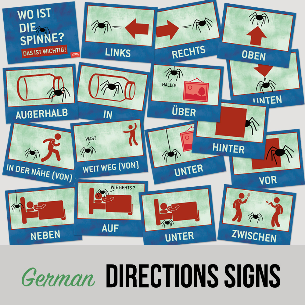Where is the Spider? German Directions Signs - Set of 17