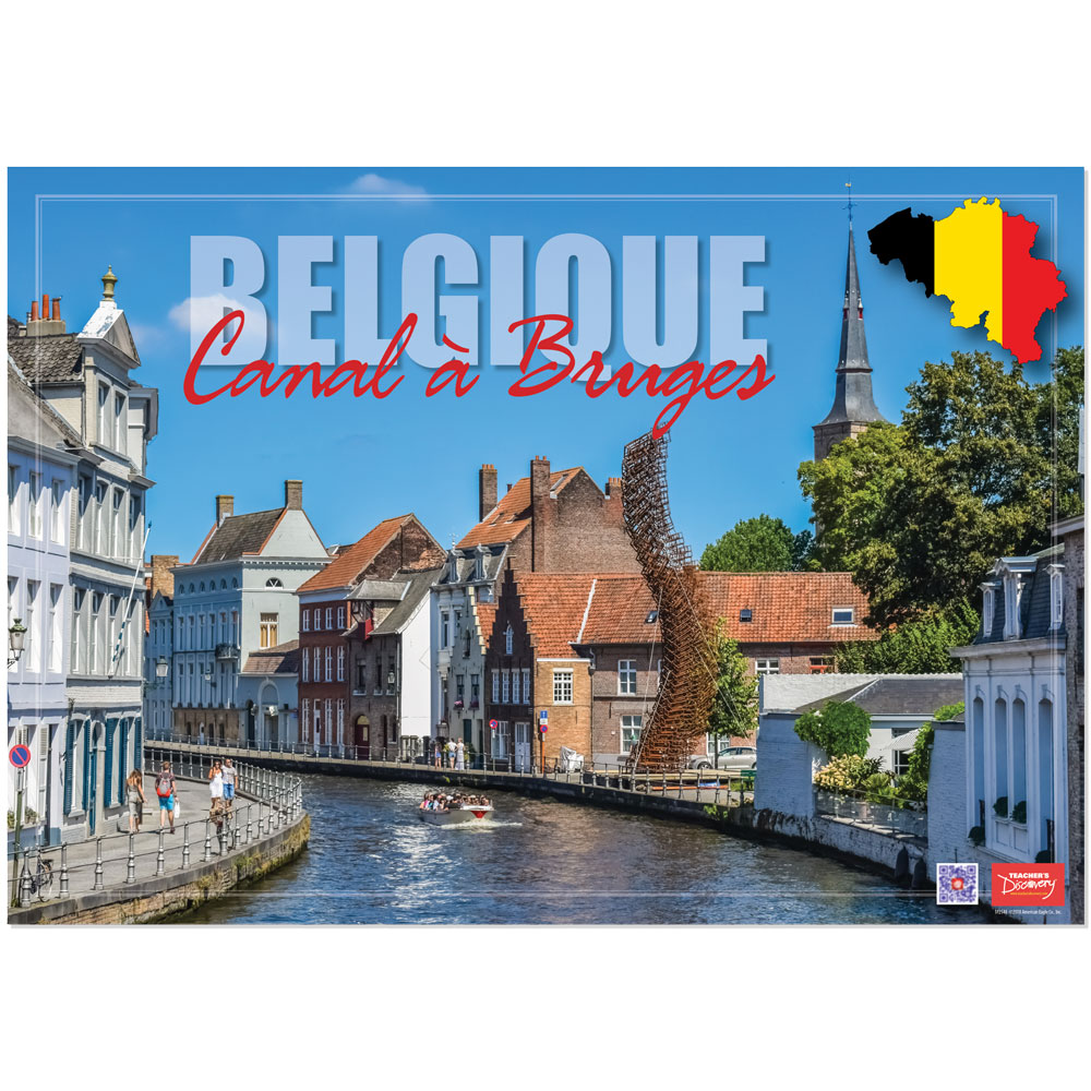 Belgium Canal à Bruges Enhanced® French Travel Poster