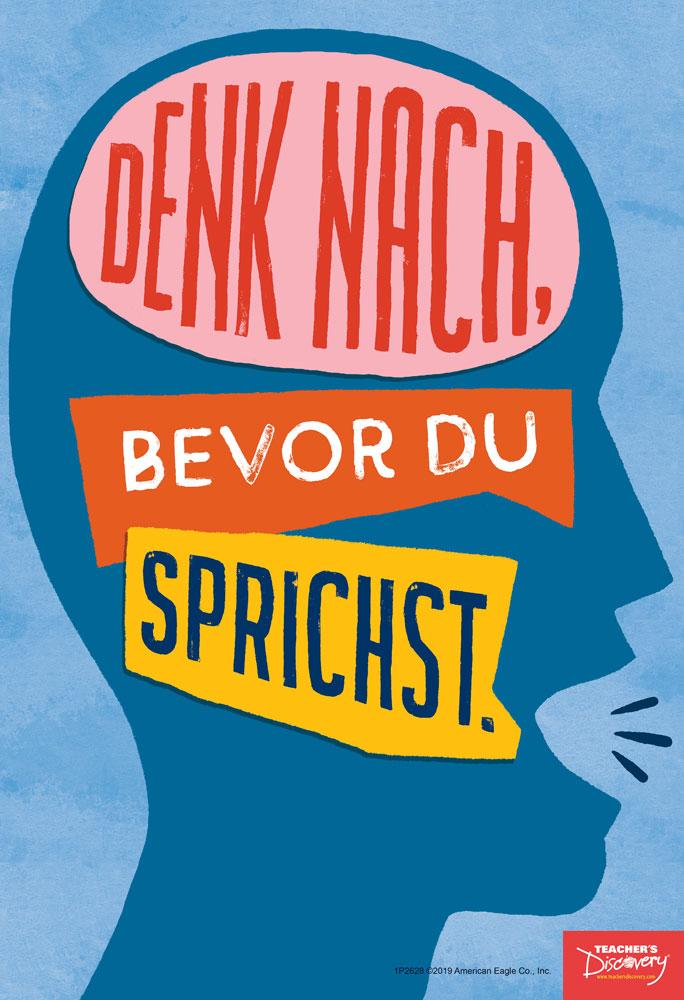 Think Before You Speak German Mini-Poster