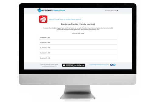 Fiesta en familia Oral Assessment for Extempore App