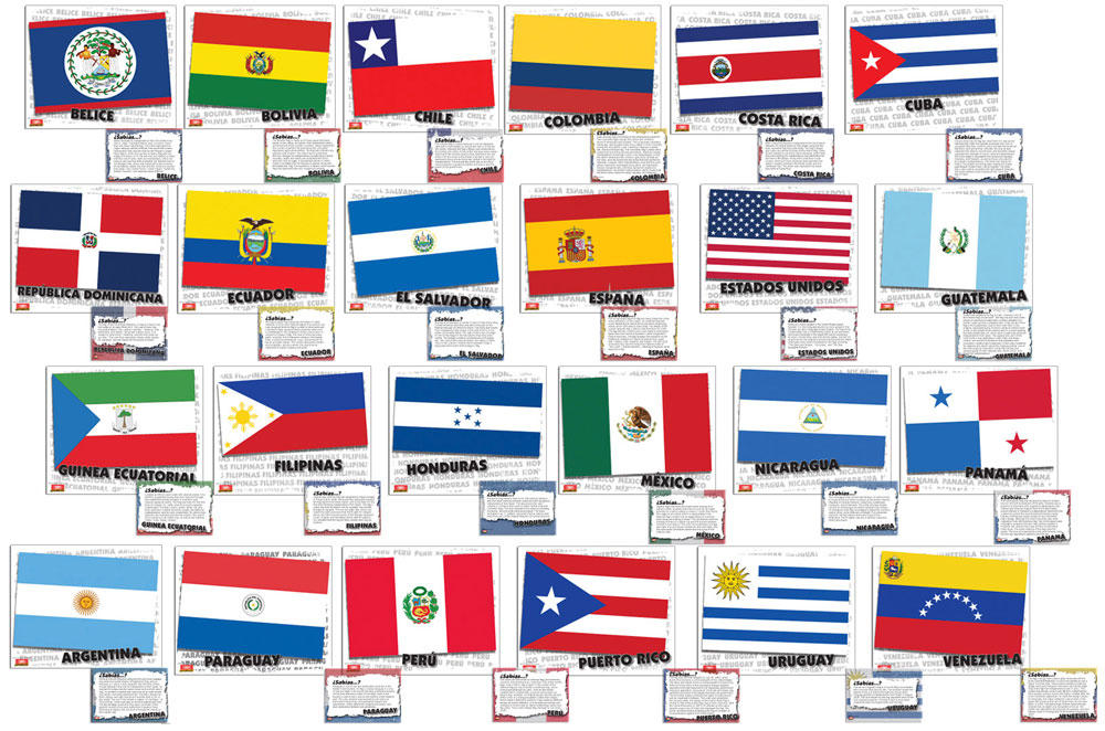 Flags of Spanish-Speaking Countries Bulletin Board Set