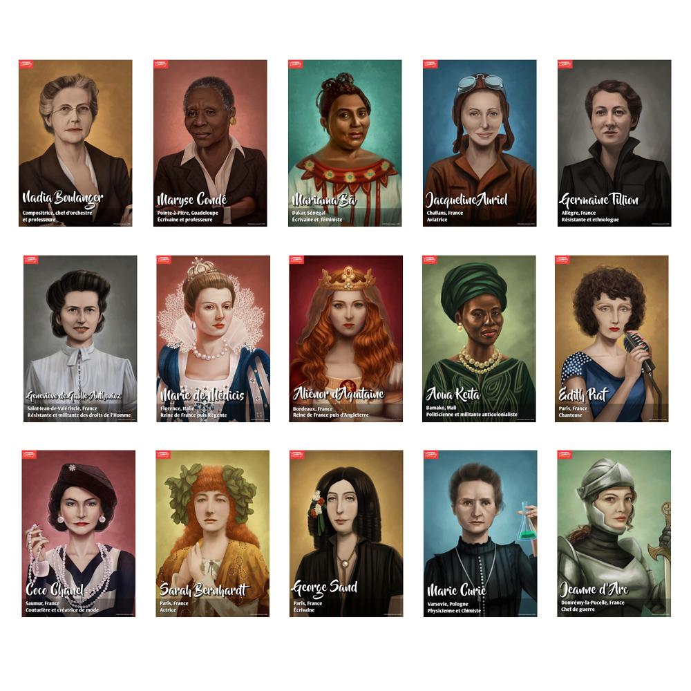 Femmes Pionnières French Mini-Poster Set of 15