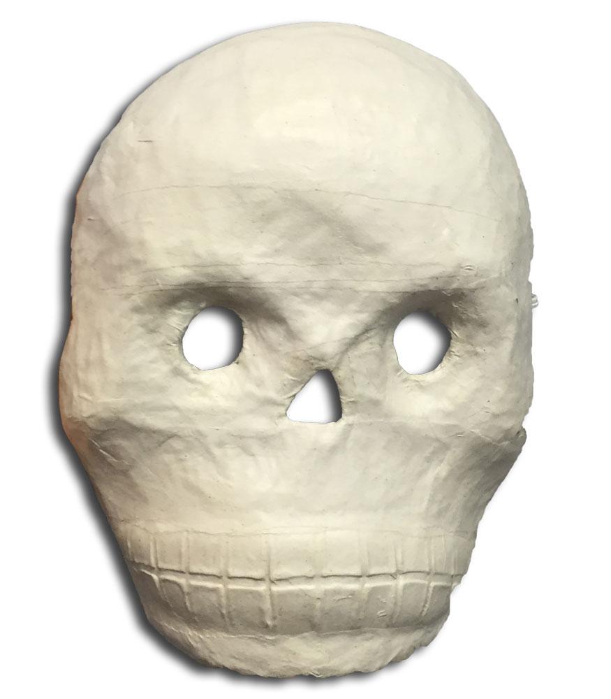 Natural Paper Mache Skull Masks Set of 12