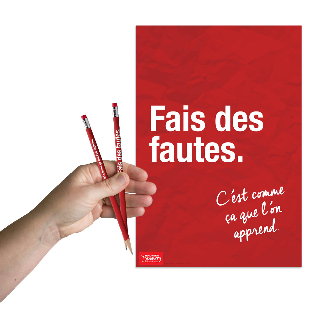 Make Mistakes French Mini-Poster and Pencils (36) Set