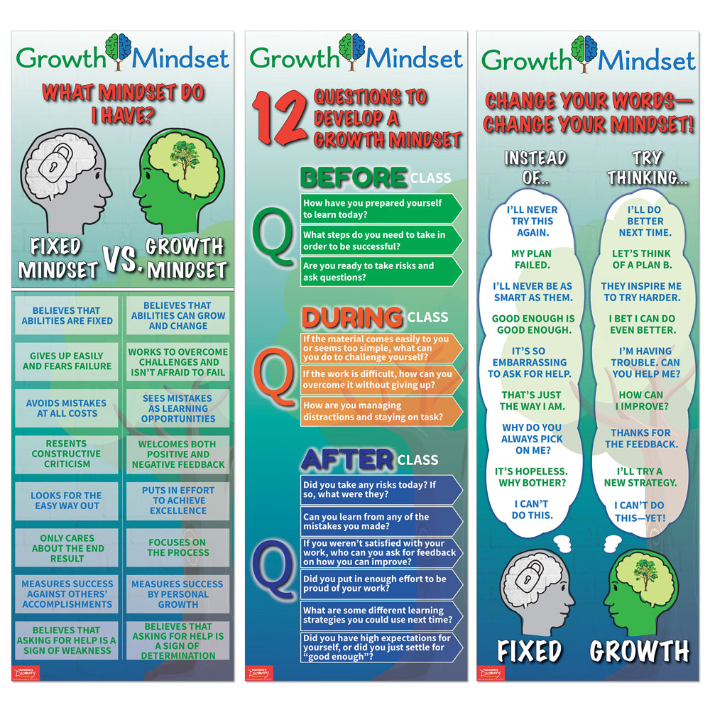 Growth Mindset Skinny Poster Set of 3