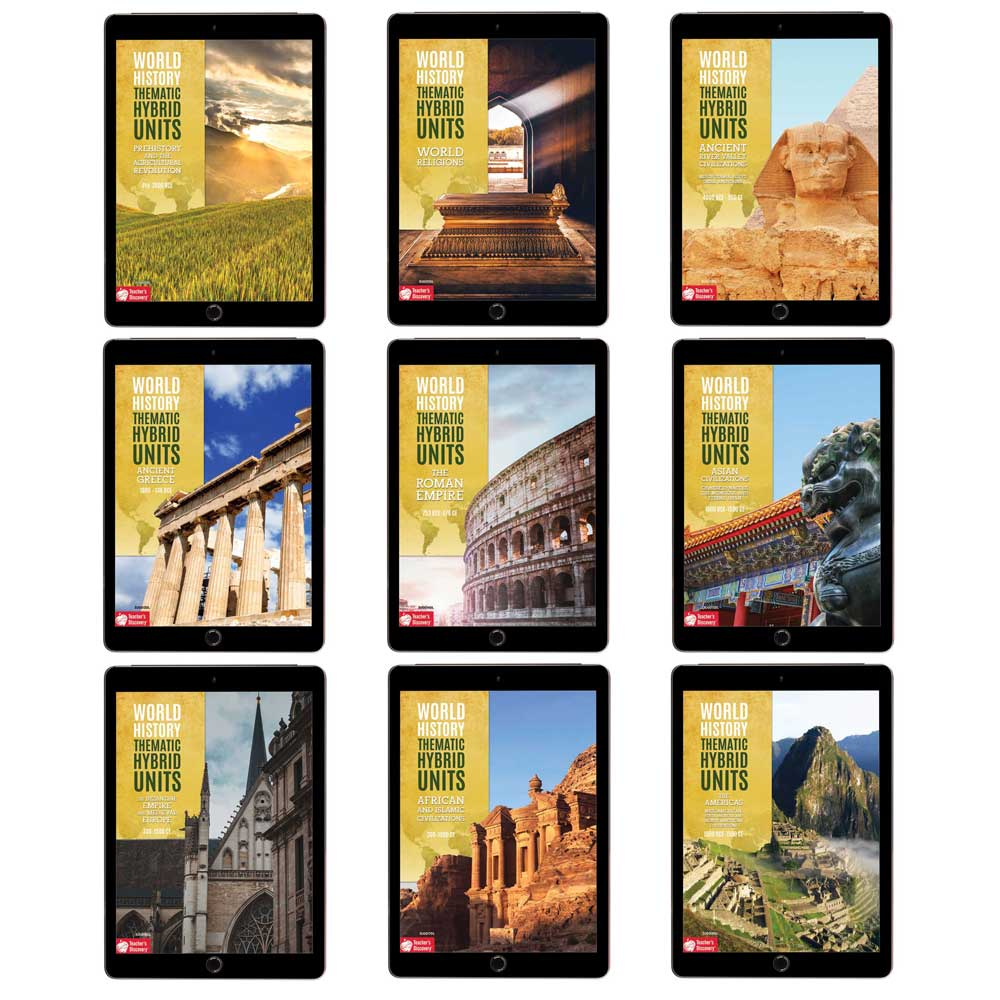 Complete World History 1 Thematic Hybrid Unit Curriculum Set of 9 Downloads