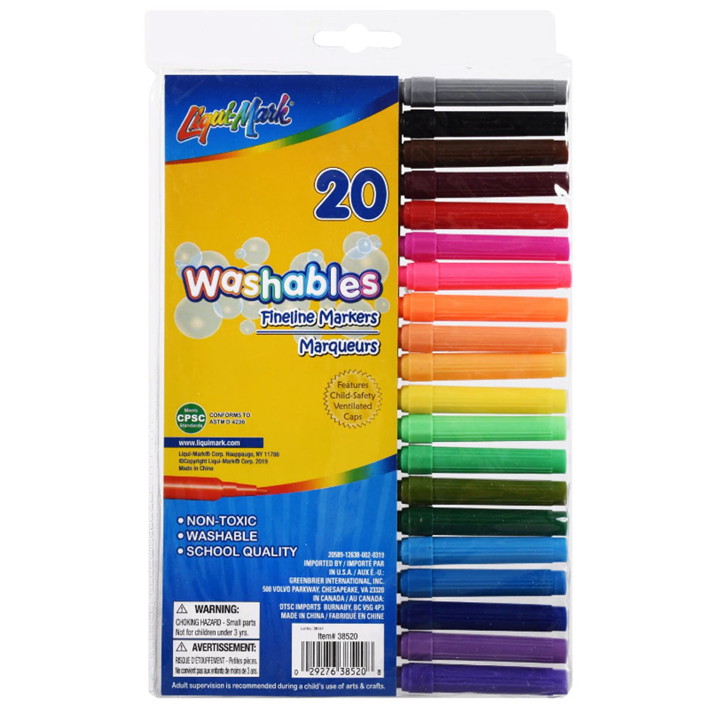 Fine-Line Markers - Set of 20 Assorted Colors