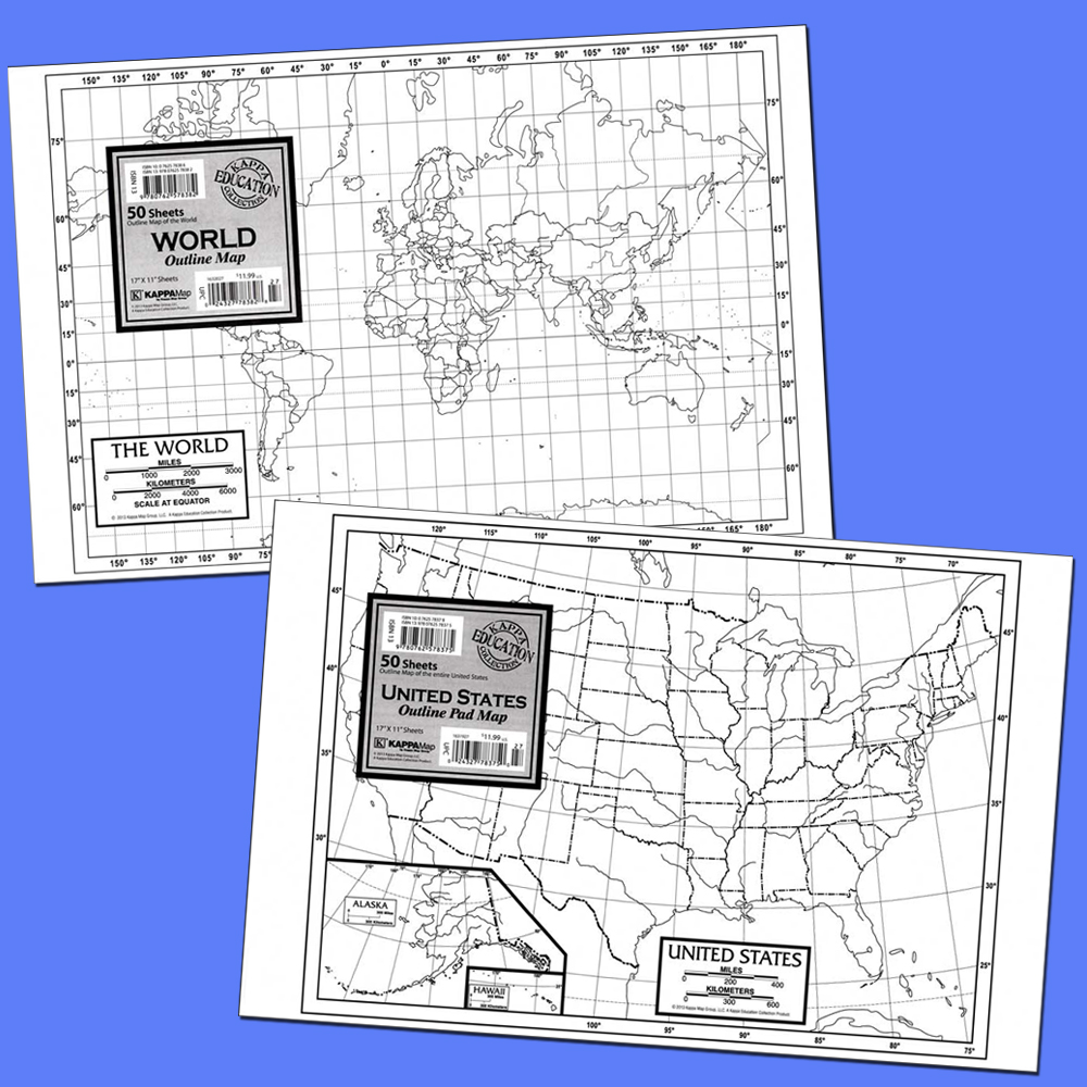 World and U.S. Outline Study Map Pads Set