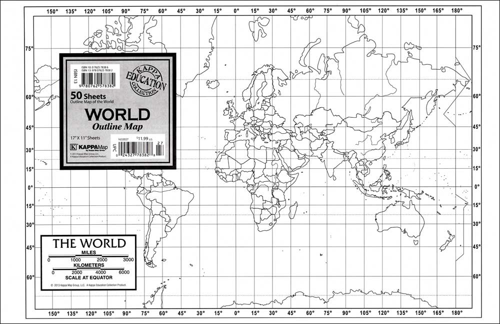 World Outline Study Map Set of 50 Maps