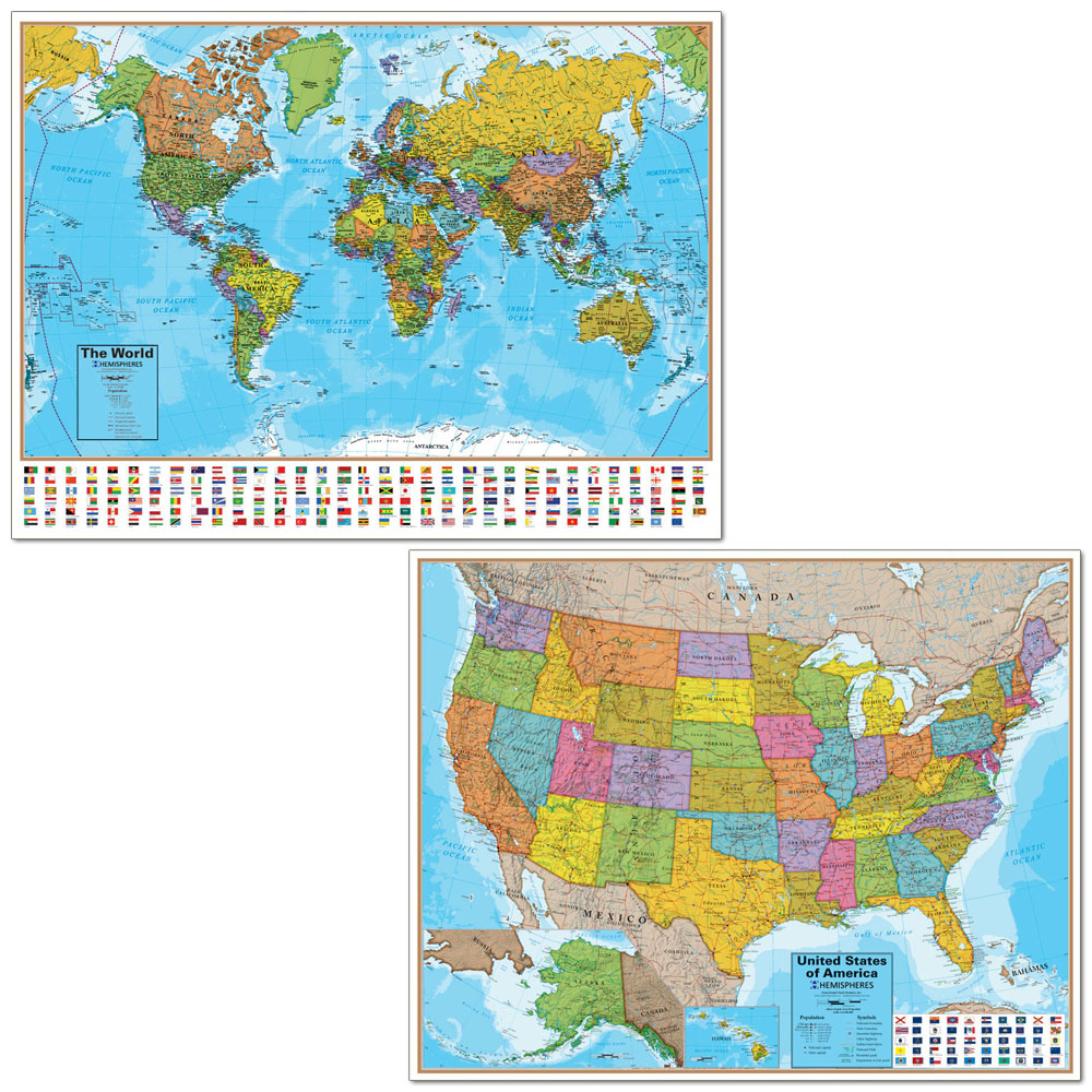 World and U.S. Map Set of 2