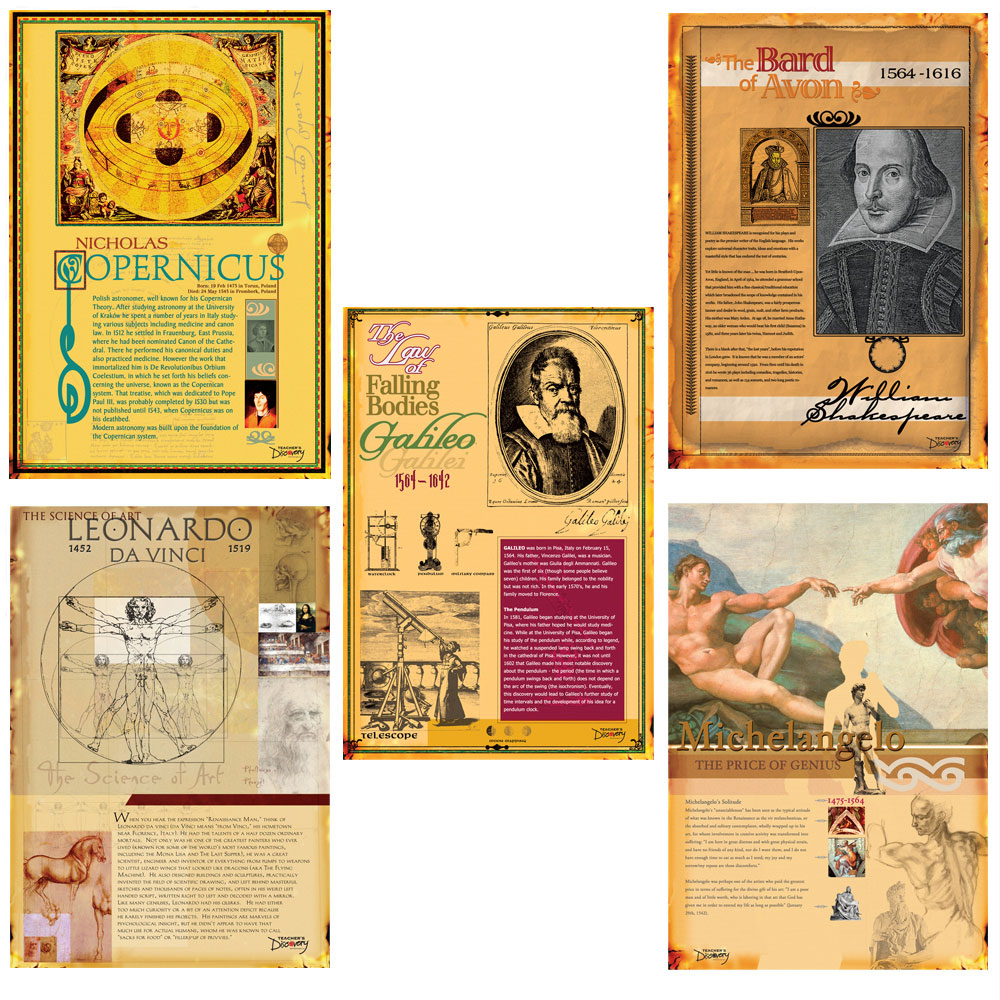 Famous Faces of the Renaissance Posters - Set of 5