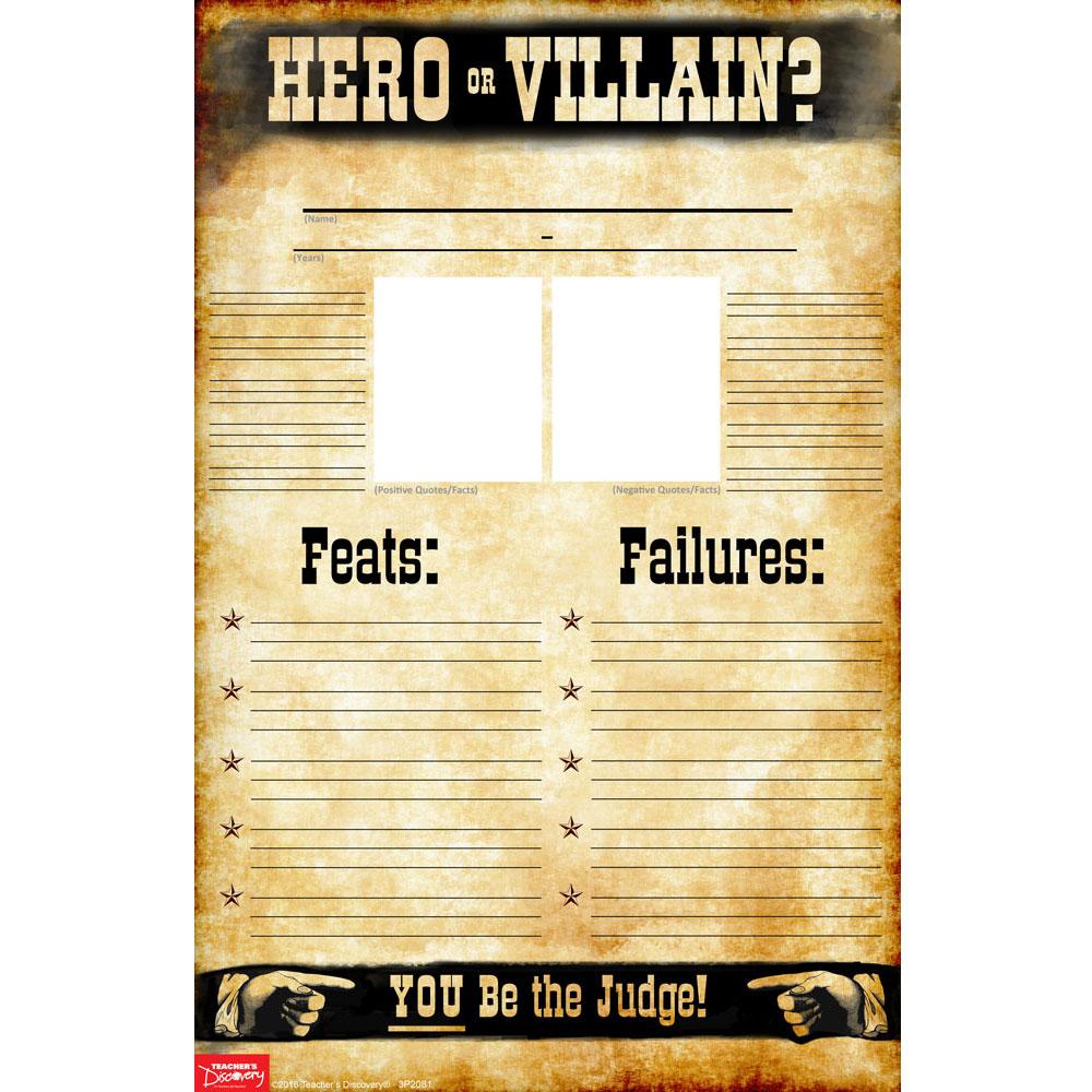 Hero or Villain? Blank Set of 35 Profile Posters - Hero or Villain? Blank Set of 35 Profile Posters