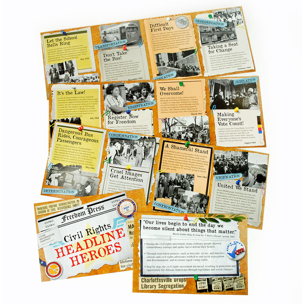 Civil Rights Headline Heroes Bulletin Board Set
