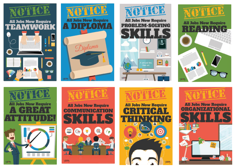 Official Notice Job Skills Set of 8 Mini-Posters