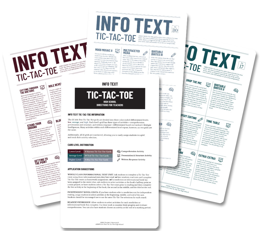 Info Text Tic-Tac-Toe for High School