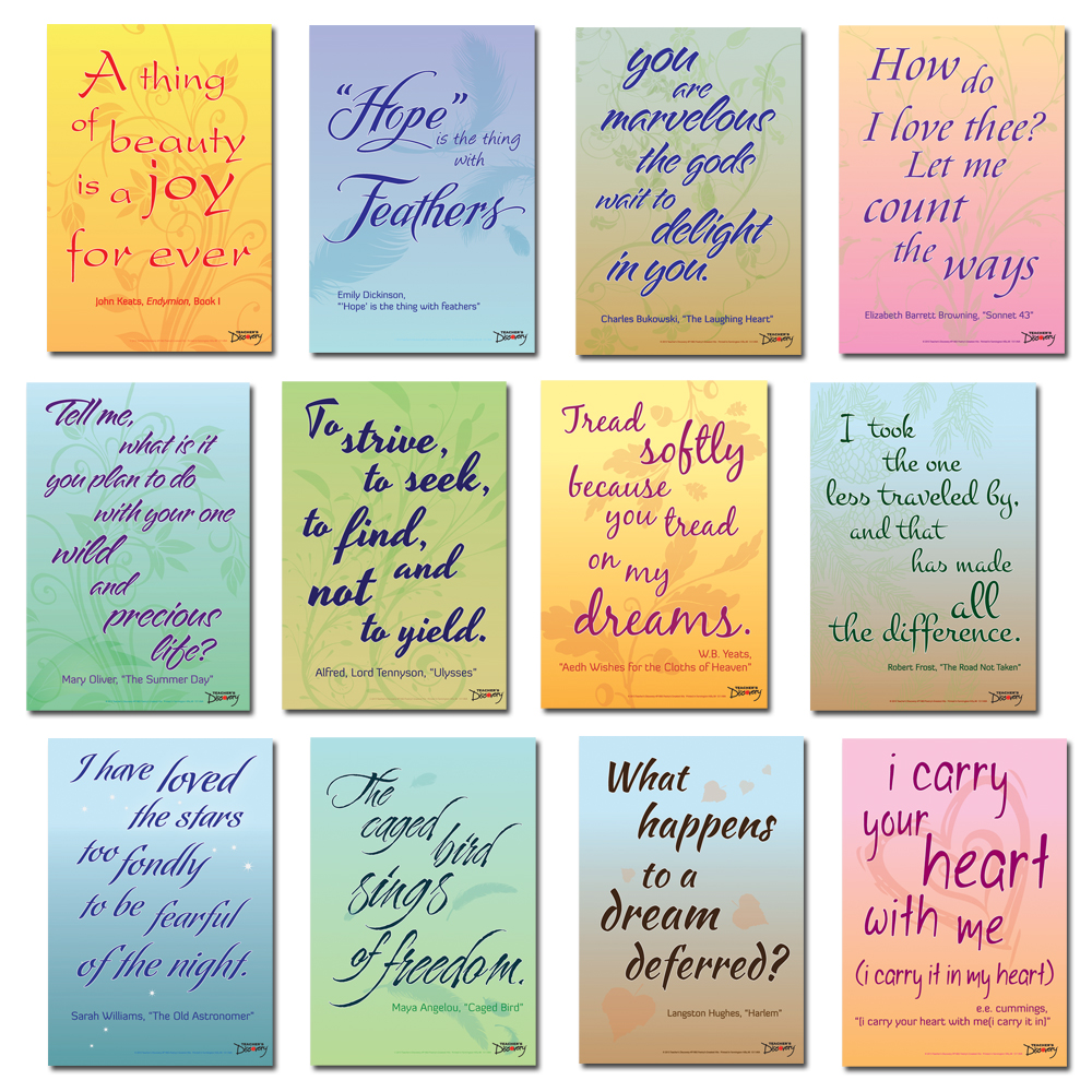 Poetry's Greatest Hits: A Dozen Distinguished Lines of Poetry Mini-Poster Set