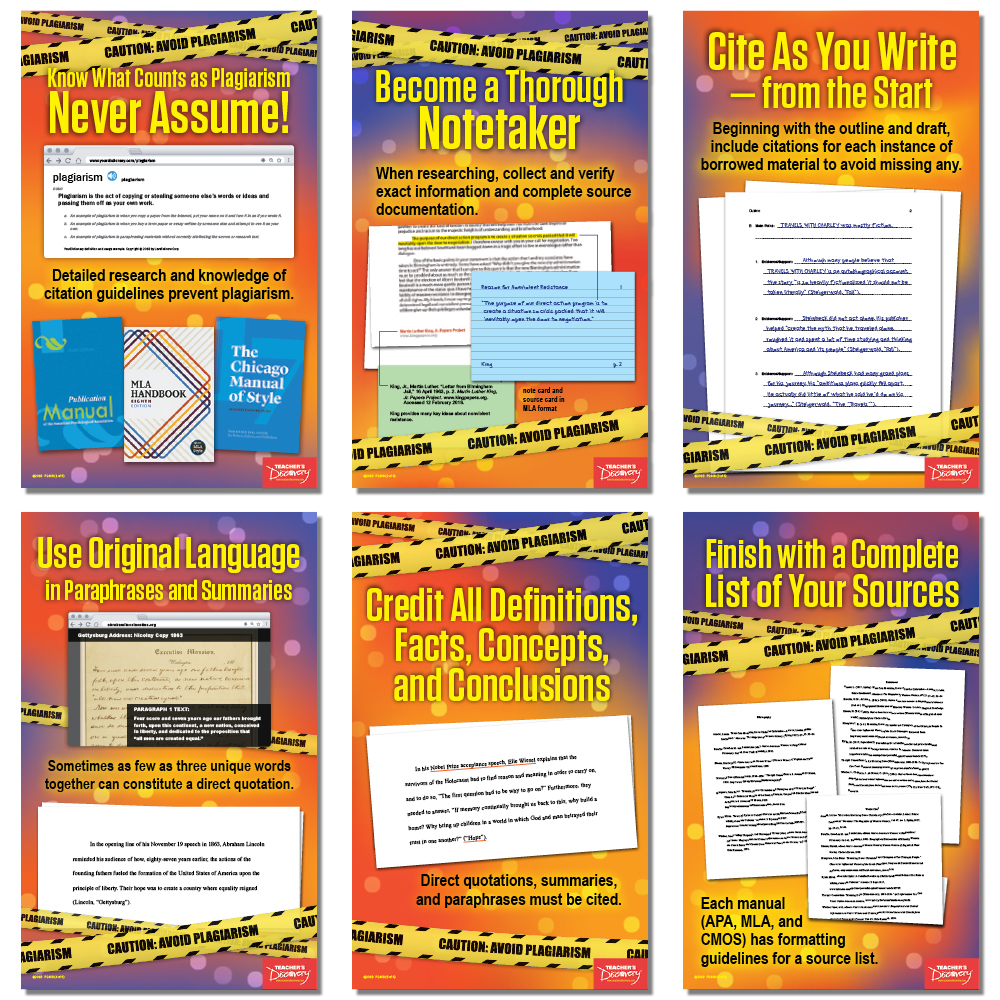 Caution! Avoid Plagiarism Mini-Poster Set