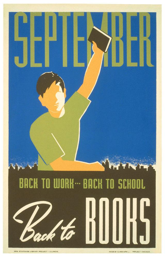 WPA Reading Poster: September Back to Books
