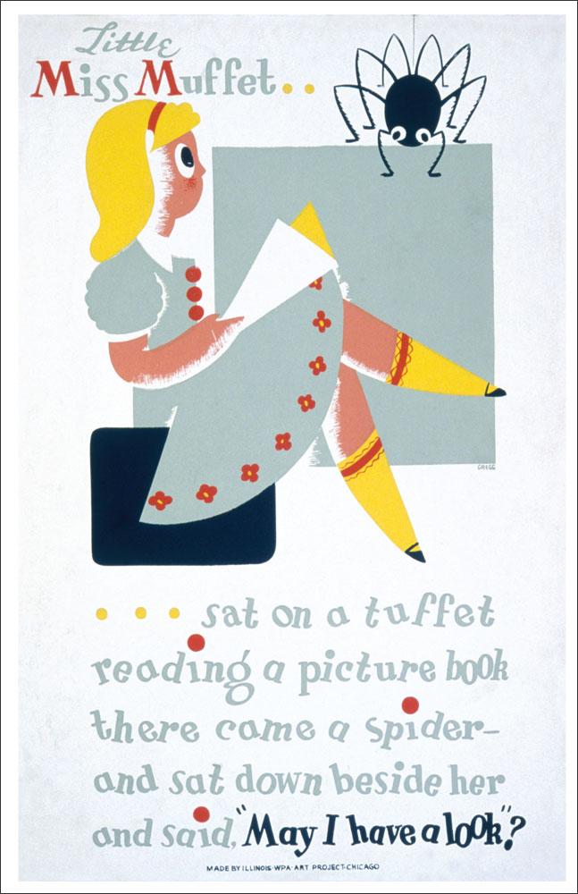 WPA Reading Poster: Little Miss Muffet
