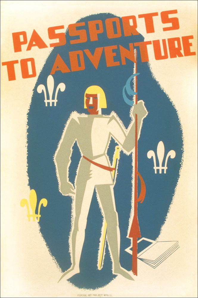 WPA Reading Poster: Passports to Adventure