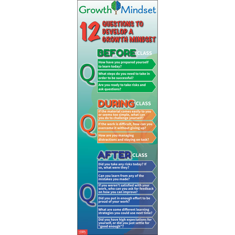 12 Questions to Develop a Growth Mindset Skinny Poster