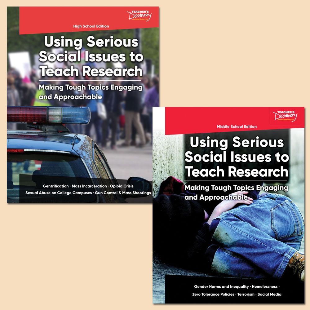 Using Serious Social Issues to Teach Research MS and HS Books Set