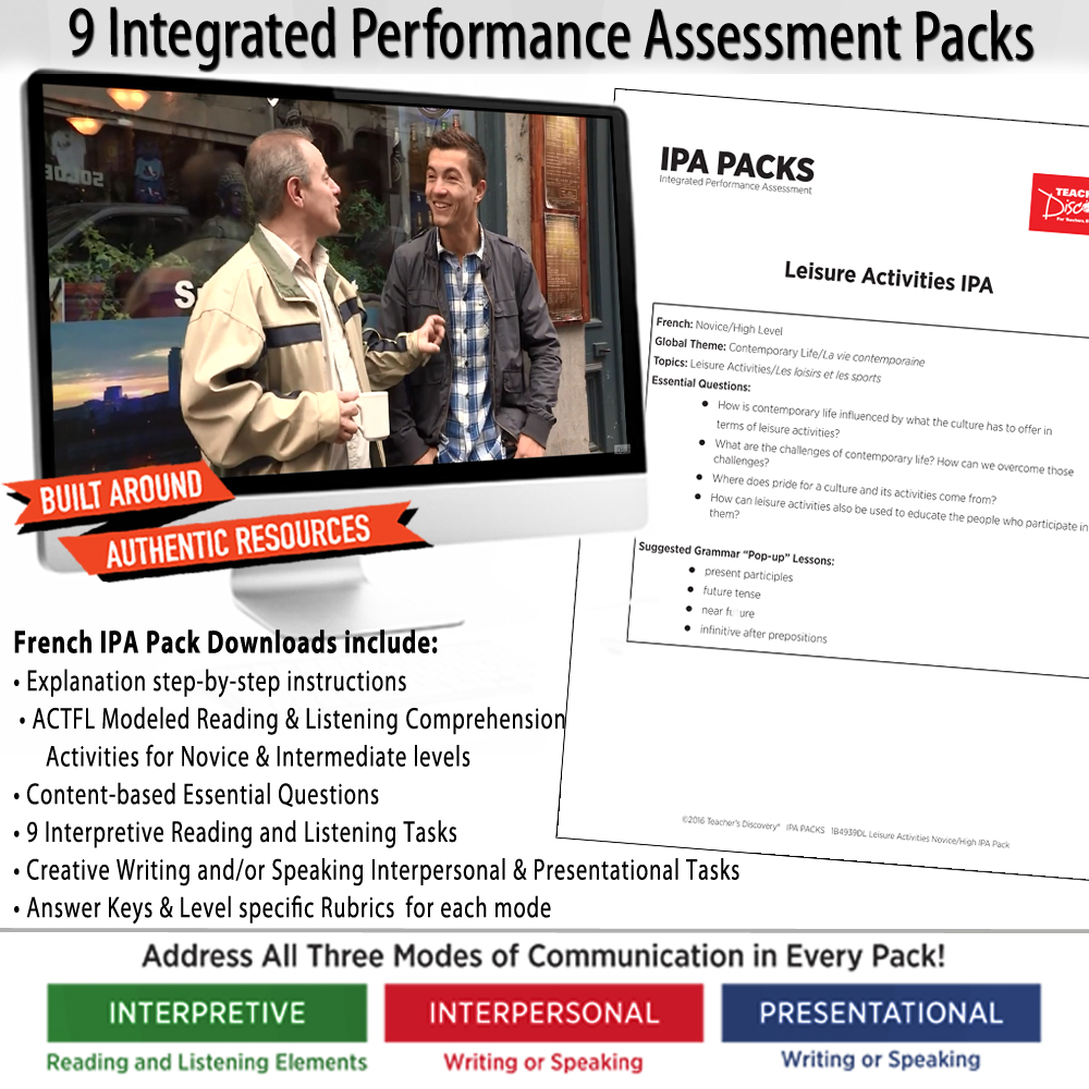 French IPA Packs Set of 9 - DIGITAL RESOURCE DOWNLOAD  - Hybrid Learning Resource