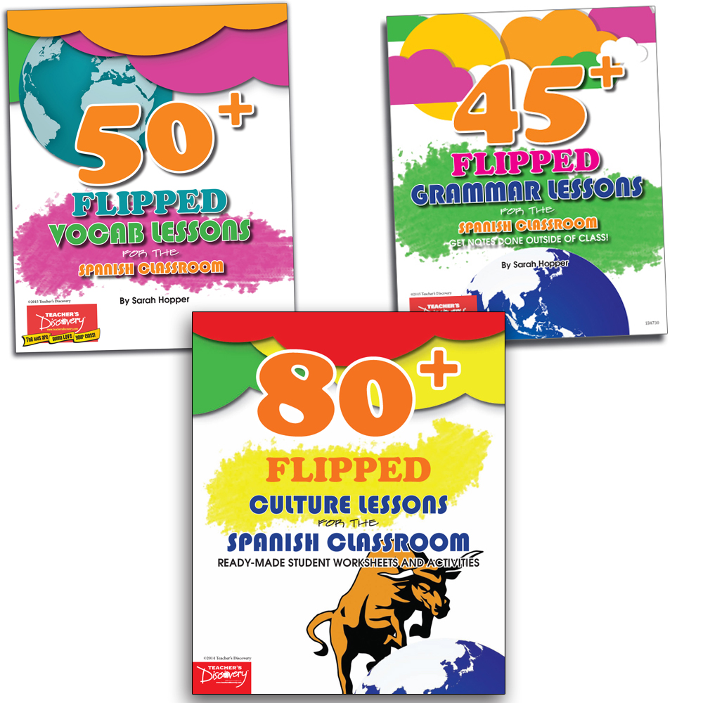Flipped Culture, Grammar, and Vocab Lessons for the Spanish Classroom Books—Set of 3