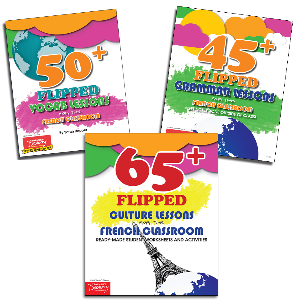 Flipped Culture, Grammar, and Vocab Lessons for the French Classroom Set of 3 Books