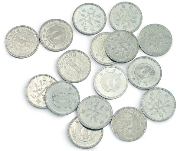 density floating yen coins