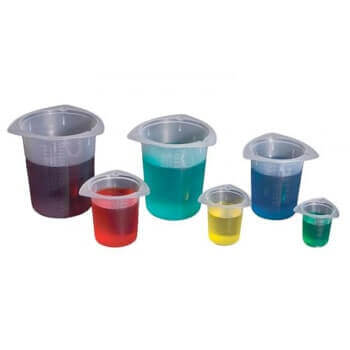 Set of 6 Economy Tri-Corner Plastic Beakers
