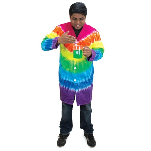 lab equipment and safety tie dyed lab coat