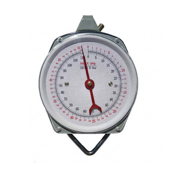 Kitchen Scale Spring Hanging Dial with Hooks 110 lb. Weight Capacity