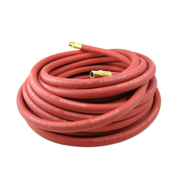Air Compressor Hose Rubber 50 ft x 1/2 inch Brass Fitting