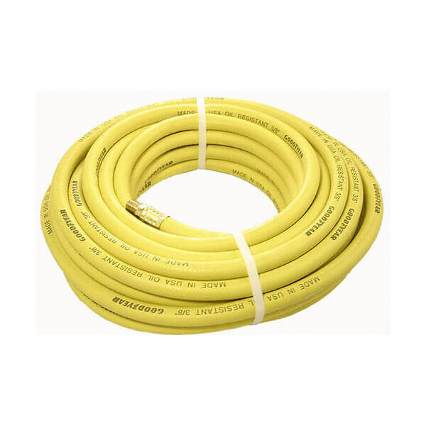 Air Compressor Hose Rubber 100 ft x 3/8 inch Brass Fitting