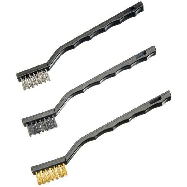 Wire Brush Set | 3 Pc Steel Nylon Brass Clean Rust Polish Scrub