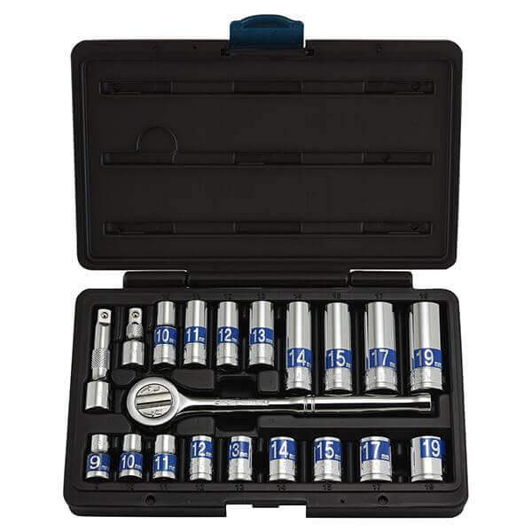 Neiko Tools 21 piece 3/8 Inch Dr. Hi-Viz Metric Socket Set 02493A