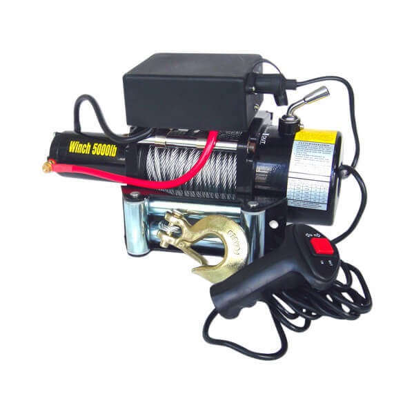 12 V 1.6 HP Electric Cable Winch 5,000 lb Capacity Truck Automotive