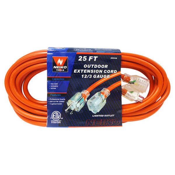 100' Outdoor Extension Cord Lighted Plug End