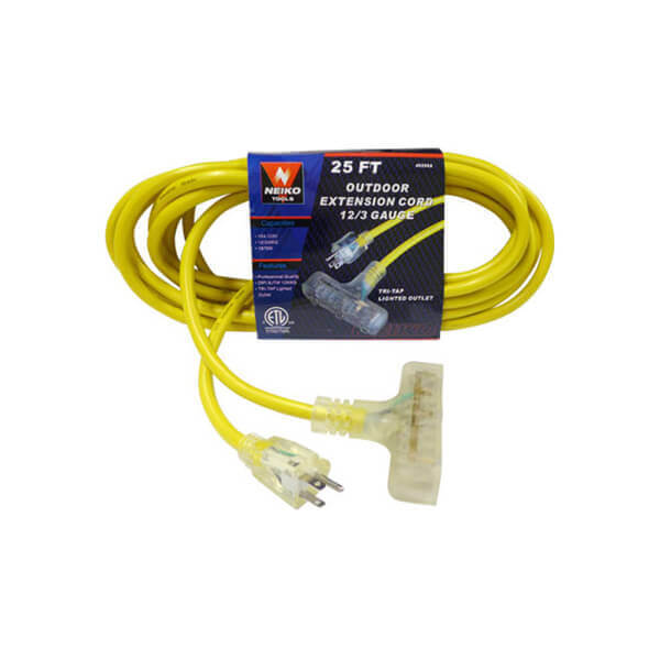 25' Outdoor Extension Cord Lighted Triple Plug End