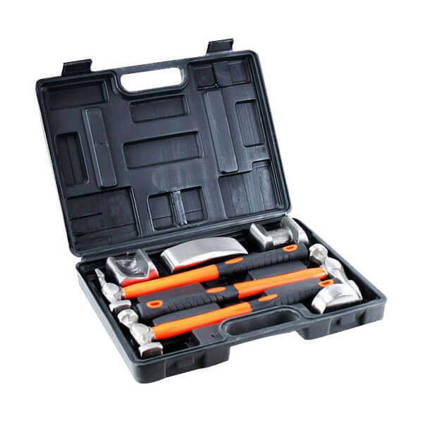 7 Pc Fiberglass Handle Auto Body Hammer Dolly Tool Kit
