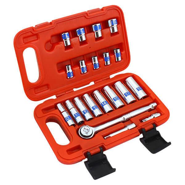 21 pc 3/8 Drive Socket Set SAE High Visibilty Chrome Vanadium