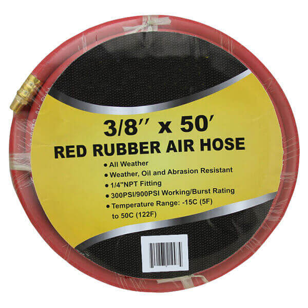 3/8 50 Ft Air Hose Red Rubber 300 psi Working Pressure 900 Burst