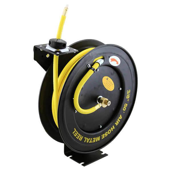 Retractable Rubber Air Hose Reel 50 Ft. 3/8 Automatic Rewind Return